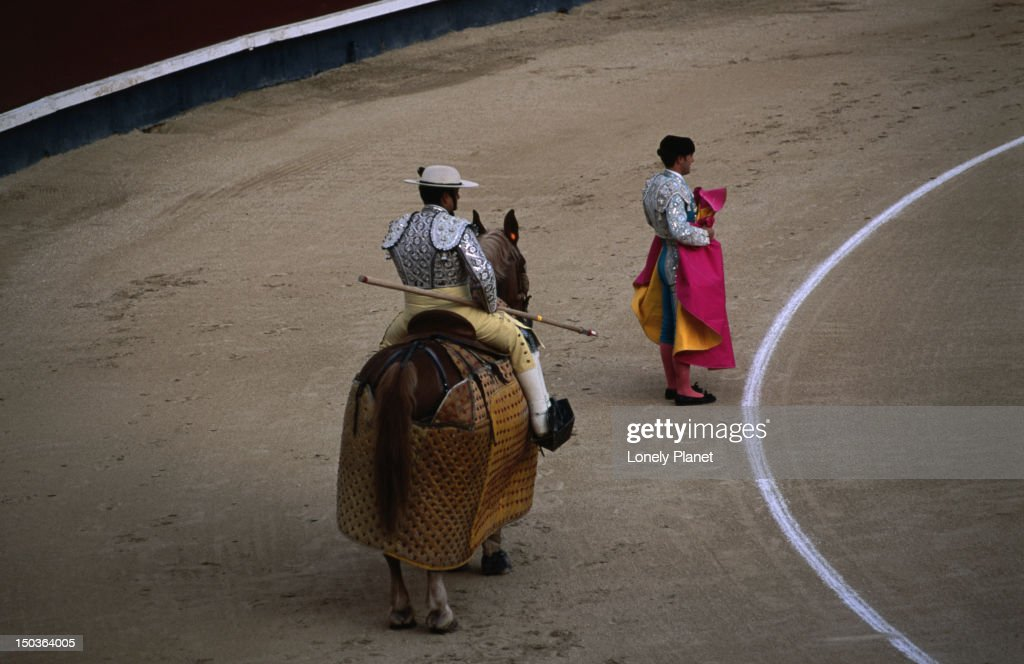 Picador and matador at bullfight in Ventas. : Stock Photo