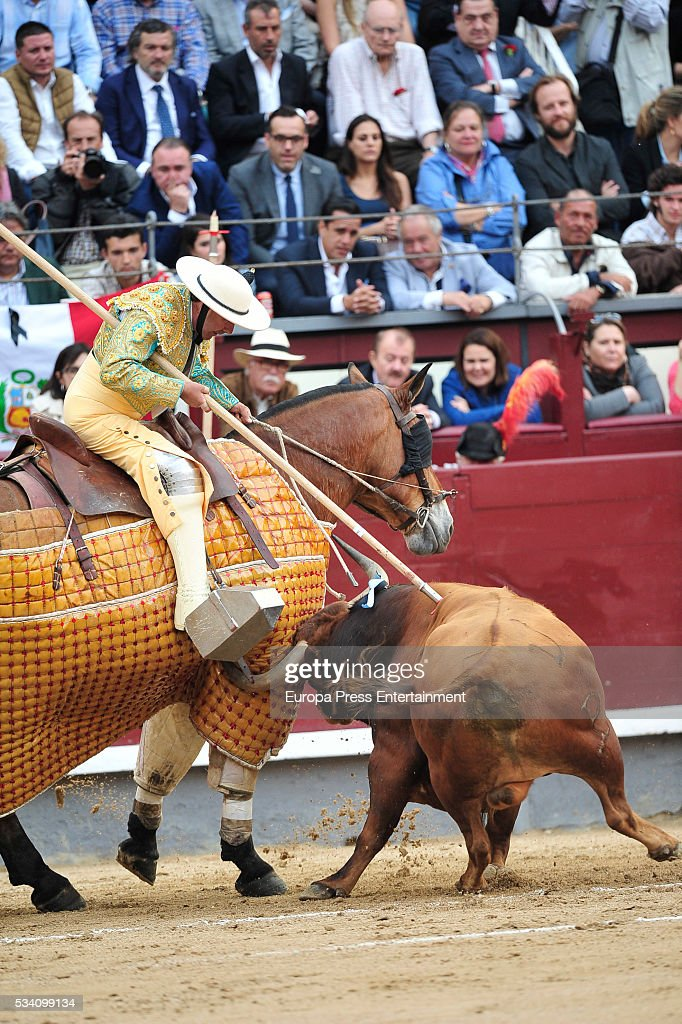 Picador performs during bullfighting during San Isidro Fair at Las Ventas Bullring on May 24 2016 in Madrid Spain