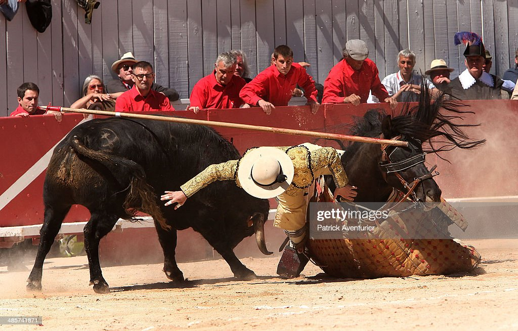 A Picadors with his armored horse is knocked by the bull at the Feria D'Arles on April 19, 2014 in Arles, France. The traditional Paques Feria Corridas in Arles opens the french bullfighting season. The Feria attracts 500,000 visitors each year and the best Toreros takeplace every day in a famous historic Roman arena of Arles.