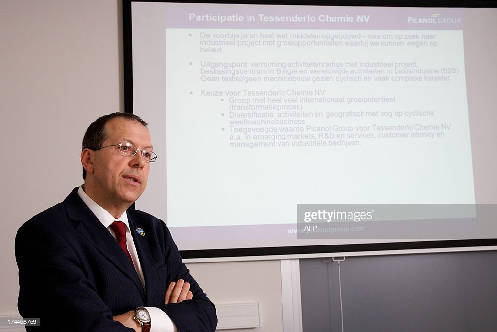 Picanol CEO Luc Tack gives a press conference of Belgian weaving machine maker Picanol concerning the 27.6 percent stake they bought in Belgian chemicals group Tessenderlo Chemie from French state-owned explosives and propellants maker SNPE, on July 26, 2013, in Ieper.