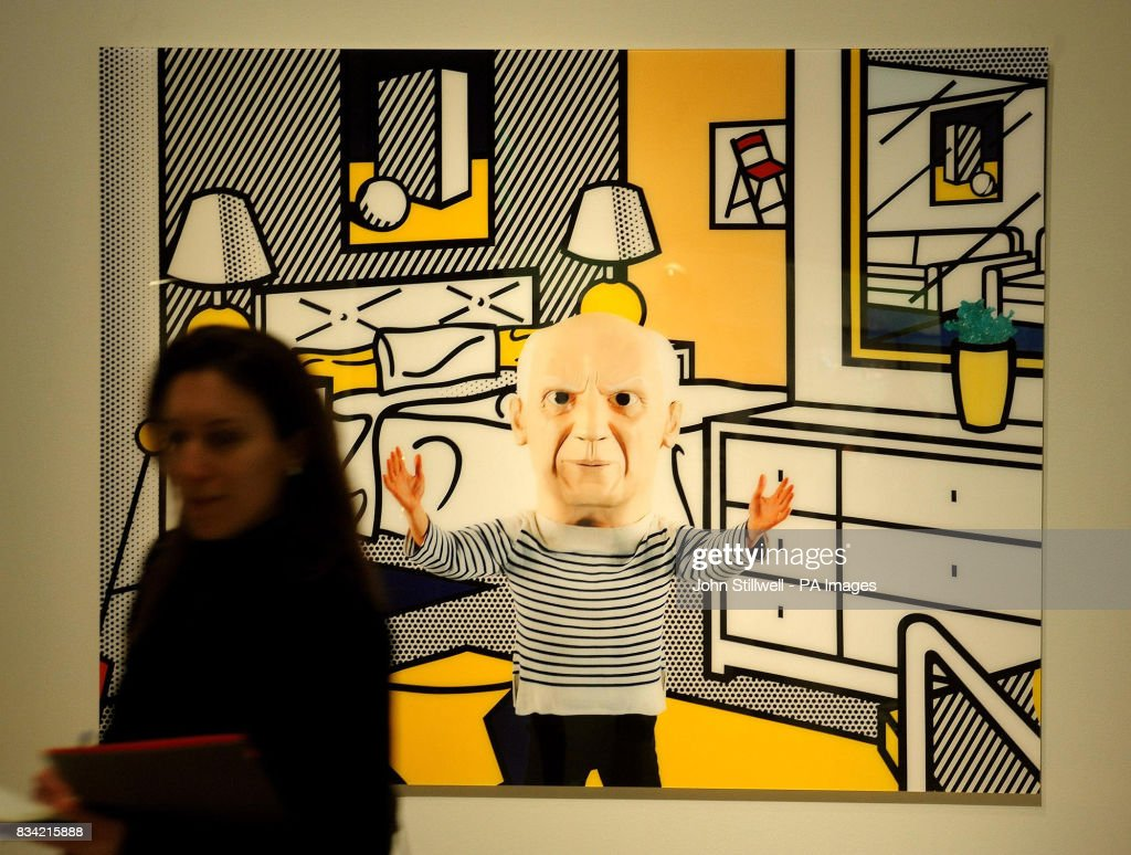 A Picasso artwork by Maurizio Cattelan in the Martian Museum of Terrestial Art Exhibition, seems to beckon a female art lover at the Barbican Art Gallery in the City of London where it is on show.