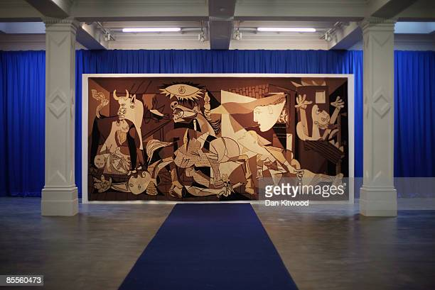 Picasso's 'Guernica' is displayed at The Whitechapel gallery on March 23 2009 in London England The tapestry has been specially brought to London...