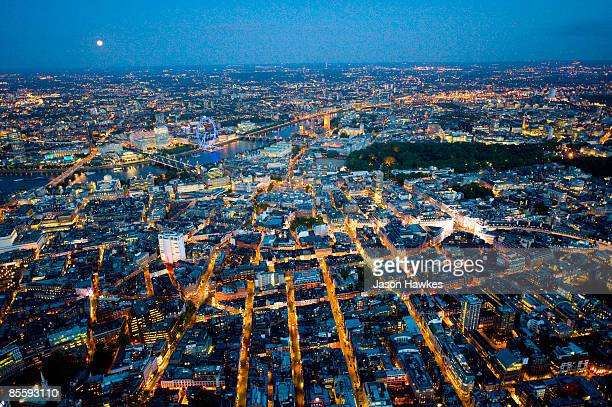 Piccadilly Circus and River Thames at night, Londo