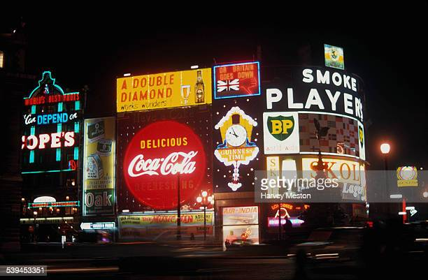 Piccadilly Circus at night London England October 1961
