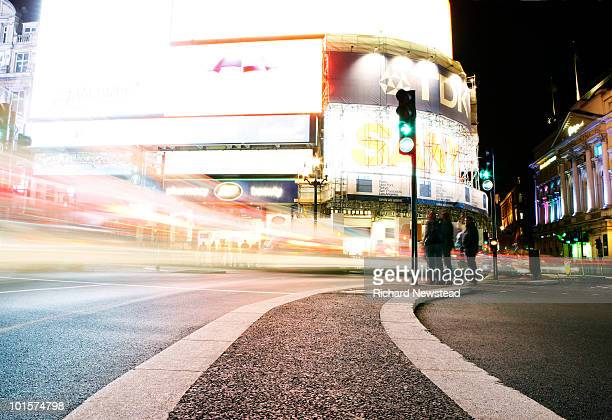 Piccadilly Circus at Night with Traffic
