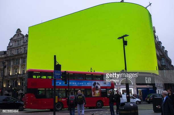 Piccadilly Circus billboard displays a test screen London on October 18 2017 The digital billboard will be switched on later in October with an...