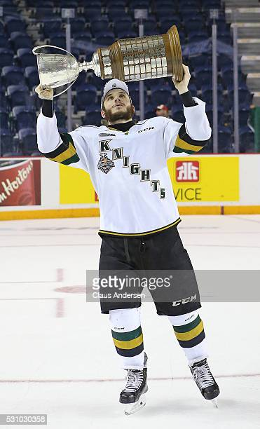Piccinich of the London Knights celebrates victory against the Niagara IceDogs in Game Four of the OHL Championship final for the JRoss Robertson Cup...
