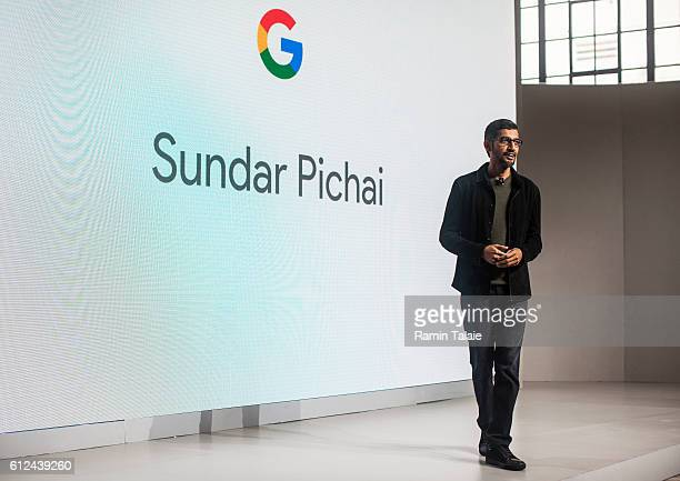 Pichai Sundararajan known as Sundar Pichai CEO of Google Inc speaks during an event to introduce Google Pixel phone and other Google products on...