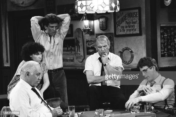 CHEERS 'Pick a Con Any Con' Episode 19 Air Date Pictured Reid Shelton as George Wheeler Rhea Perlman as Carla Tortelli Ted Danson as Sam Malone...
