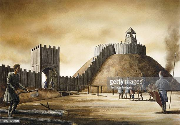 Pickering Castle c11th century Motte and bailey Reconstruction drawing of a motteandbailey fortification in Pickering North Yorkshire England...