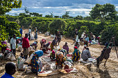 Pickers remove unripe or overripe coffee beans and foreign debris from their daily harvest to prepare it for weighing at the Mubuyu Farm Zambia...