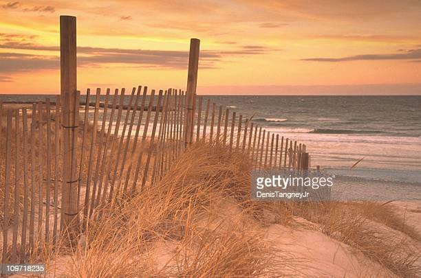 Steccato sulla duna in erba in spiaggia