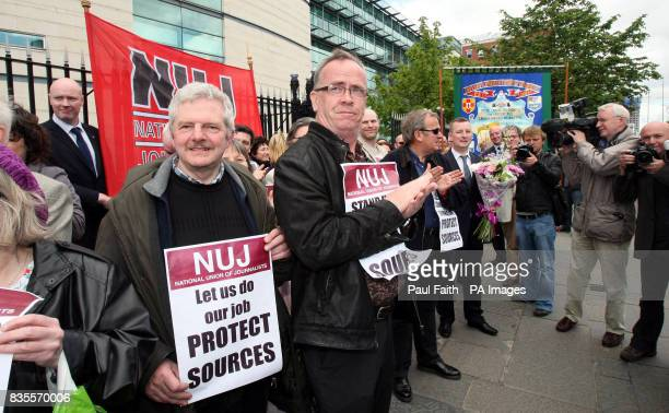 NUJ picket in support of Journalist Suzanne Breen as she arrives at the Northern Ireland High Court where she will resist an attempt by the PSNI to...