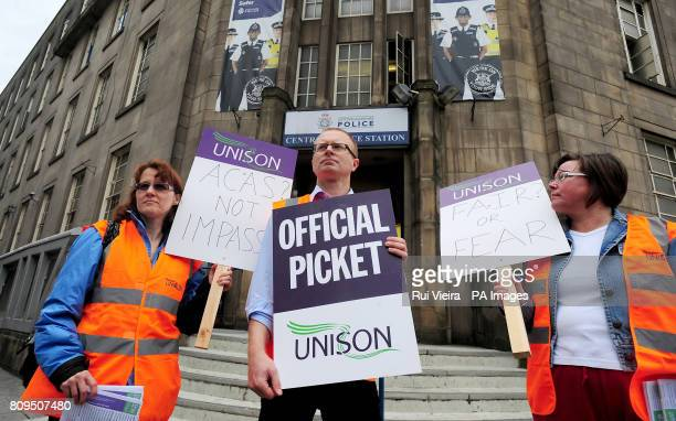 A picket line is seen outside Central Police station in Nottingham as a 24hour strike by civilian staff at Nottinghamshire Police force started at...