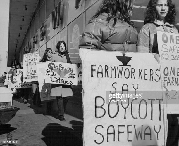 Picket Signs were carried and Leaflets were passed out to urge lettuce boycott About 30 persons took part in the protest at the Safeway fore near E...