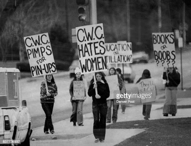 Pickets Protest Beauty Pageant At Colorado Women's College Center A small group of CWC students picketed Houston Fine Arts Center They claimed the...