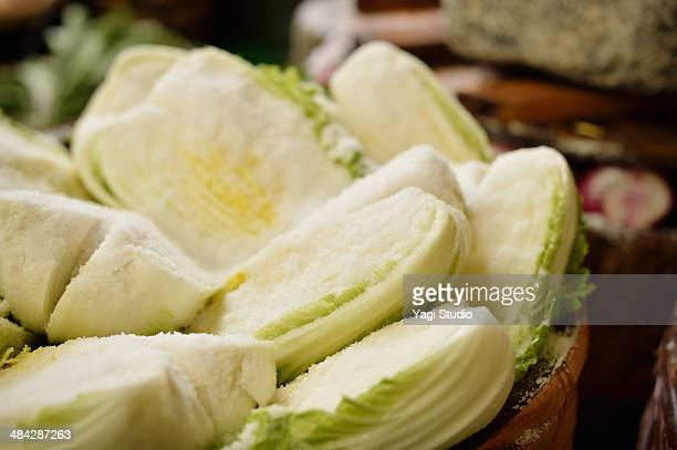 Pickled Chinese cabbage in factory of pickles