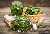 Pickled cucumbers in the jar