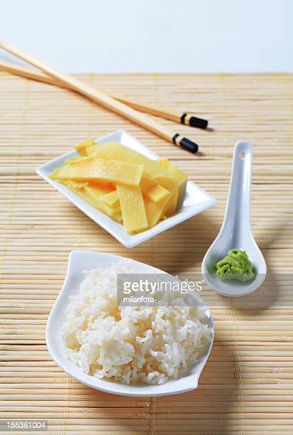 Pickled ginger, wasabi and rice