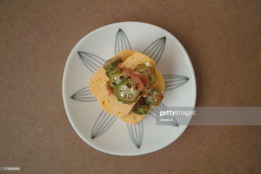 Pickled plum+Okra/Japanese rolled omelet