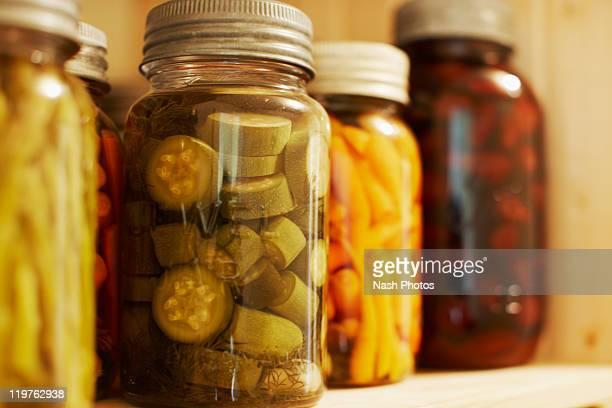 Pickled vegetables on shelf