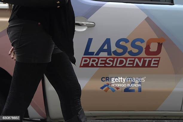 A pickup truck bears electoral propaganda of presidential candidate Guillermo Lasso in Quito on January 3 2017 as campaigning opened for Ecuador's...