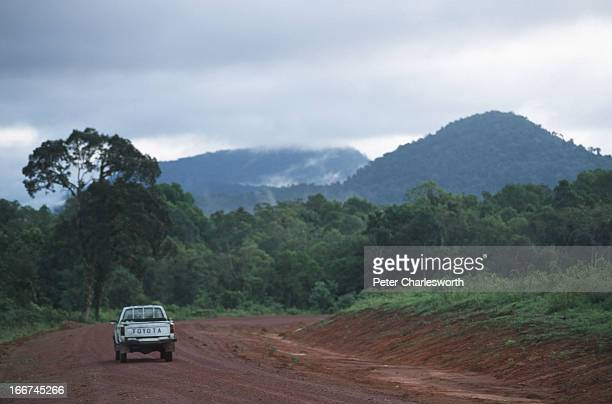 A pickup truck drives deep into the Cardamom mountains Several companies have been given concessions to build roads into the Cardamom mountains As...