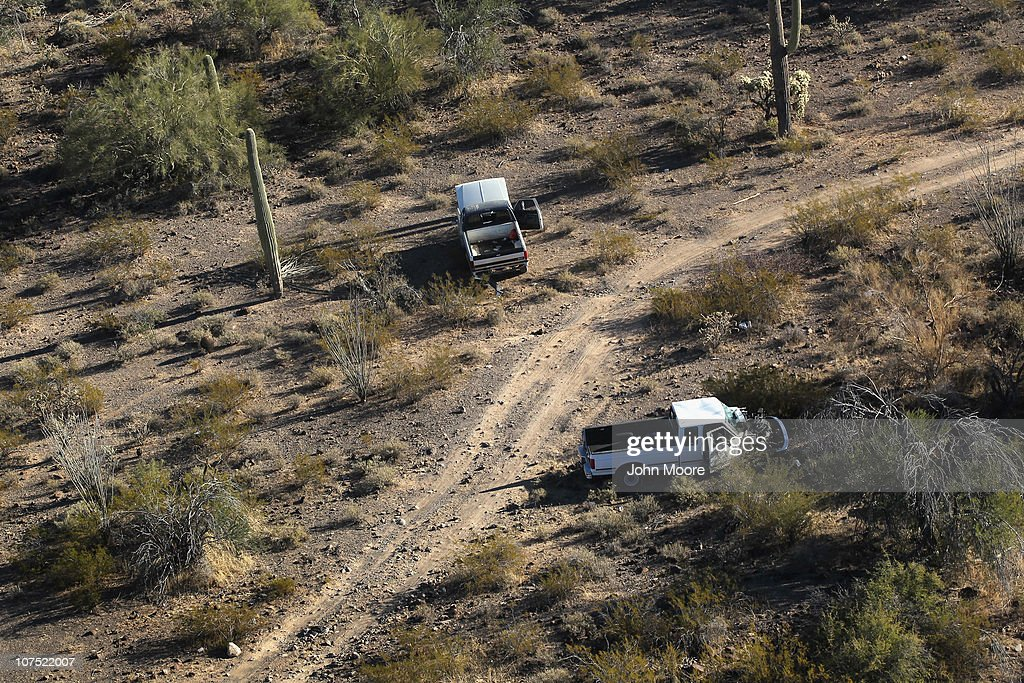 Pickup trucks abandoned by drug smugglers litter the Sonoran Desert on December 9, 2010 in the Tohono O'odham Reservation, Arizona, near the U.S.-Mexico border. The remote area is a favorite spot for smugglers and illegal immigrants to cross into the United States.