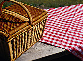 Picnic Basket and Tablecloth on a Picnic Table