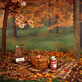 Picnic basket in autumn