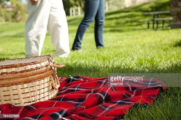 Picnic basket on red plaid blanket in park.