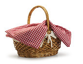 Picnic basket on white surface with soft shadow.To see other picnic baskets click: