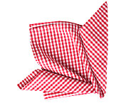 Gingham picnic cloth decoration cloth isolated.