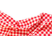Kitchen picnic red cloth frame isolated on white background.