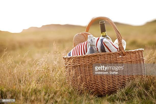Picnic hamper in the grass, Sweden.