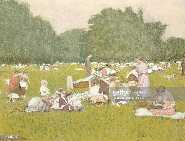A picnic in the Vienna Prater Gardens Austria 20th Century Watercolour