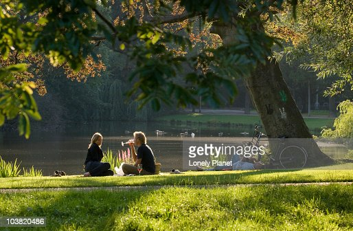 Picnic in Vondelpark in afternoon light. : Stock-Foto