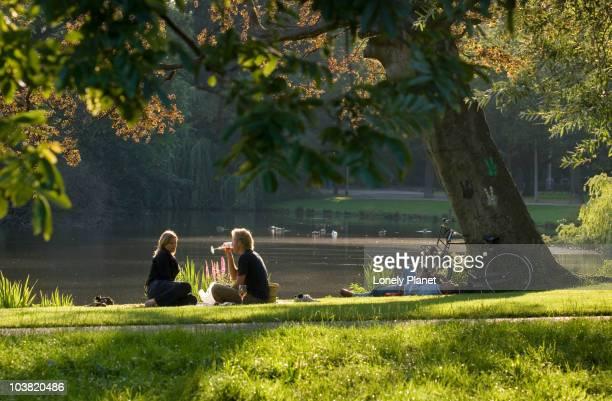 Picnic in Vondelpark in afternoon light.