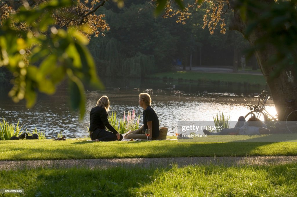 Picnic in Vondelpark in afternoon light. : Stock Photo