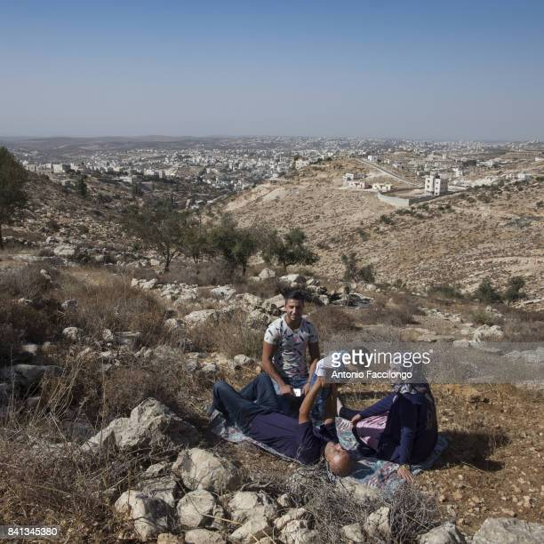 A picnic of Nabeel Masalwa family his wife brothers and son on the mountains of Hebron His wife Samaher had a new baby called Kareem born through Ivf...