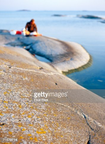 Picnic on cliffs in the archipelago. : Stock Photo