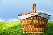 Picnic Basket with napkin on nature background