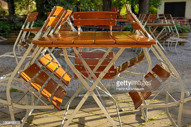 Picnic table and chairs at a biergarten (beer garden)