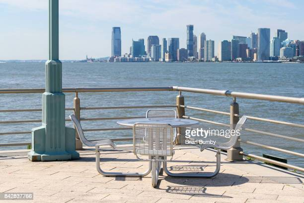 Picnic table and Jersey City Skyline