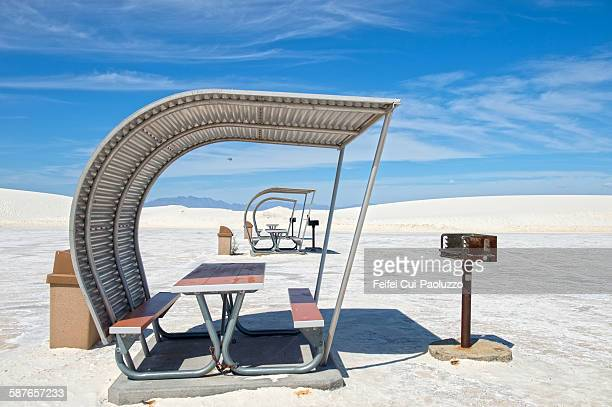Picnic table at White Sands National Monument