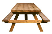 Picnic Table front view made of weathered wood on an isolated white background as a symbol of summer and barbecue leisure activity.