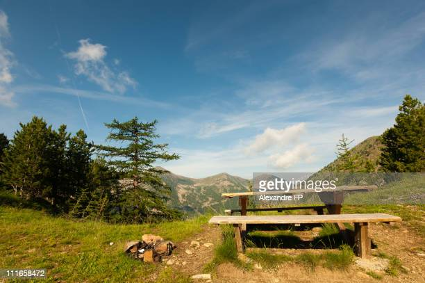 Picnic table on a mountain road