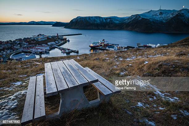 Picnic table overlooking Honningsvag, Northern Norway.