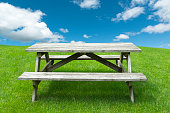 wooden picnic table a green grass lawn with cloudy sky