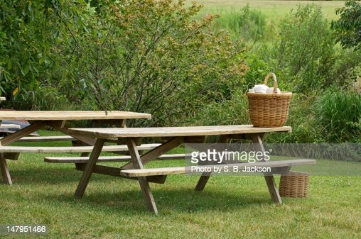 picnic tables stock photo getty images. Black Bedroom Furniture Sets. Home Design Ideas
